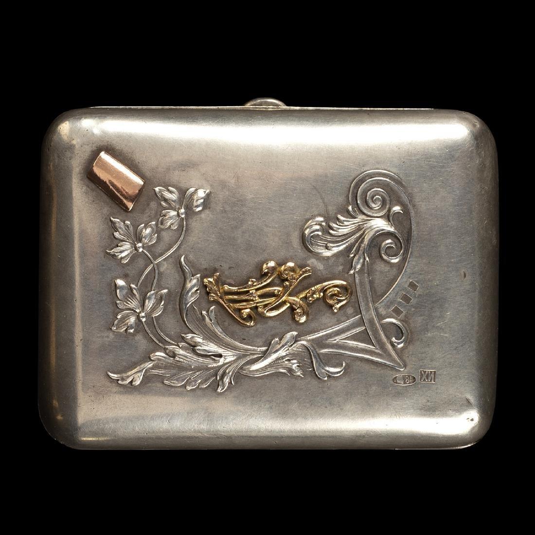 A Russian silver cigarette case, Ivan Khlebnikov,