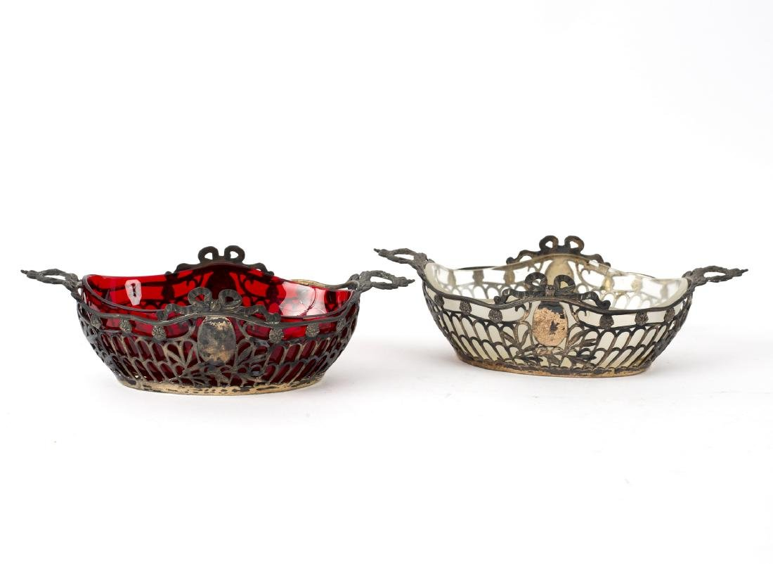 Two silver baskets with glass liners, Chester import