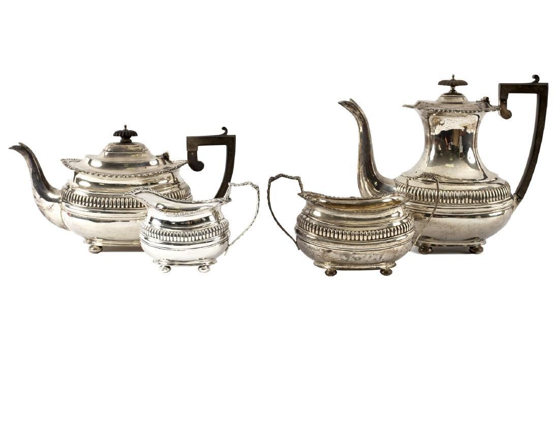 A four-piece silver tea and coffee set
