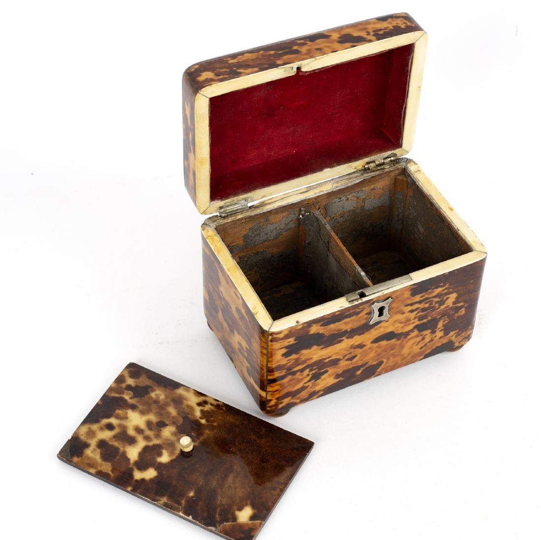 A Regency tortoiseshell tea caddy of rectangular form