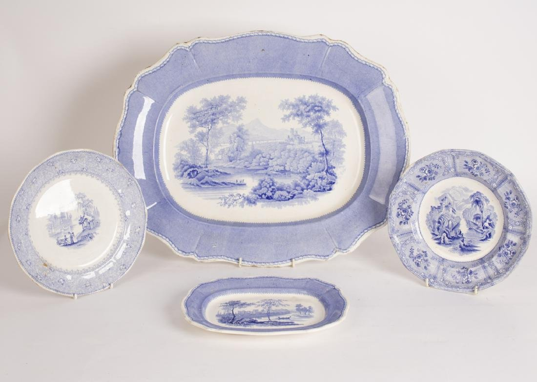A Davenport meat plate and small platter printed with