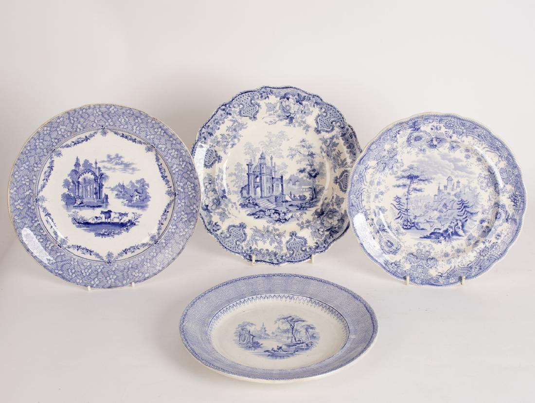 A Davenport meat plate and small platter printed with - 2