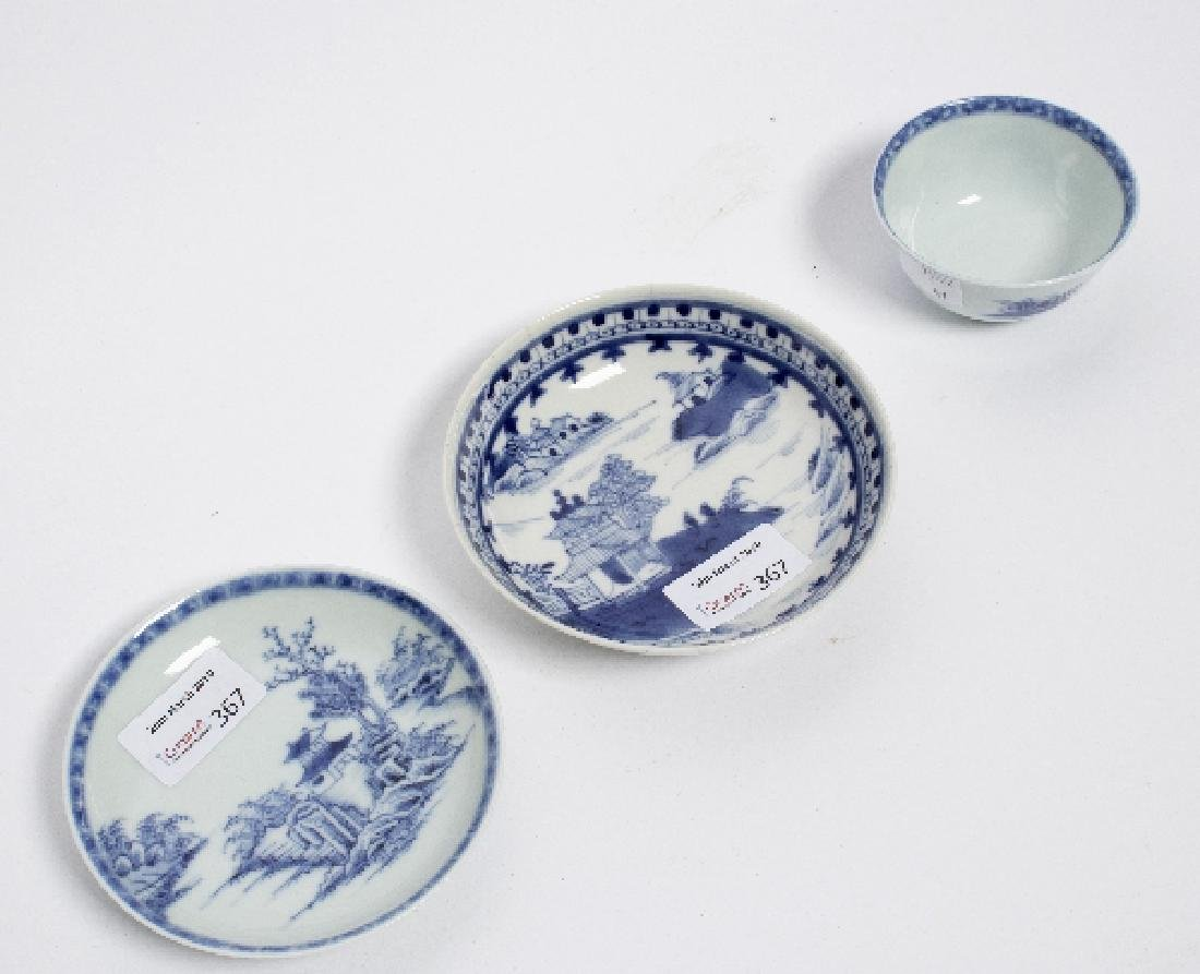 A Chinese blue and white tea bowl and saucer, Nanking