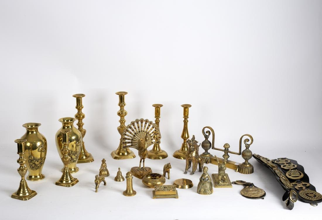Three pairs of brass candlesticks, a pair of Japanese