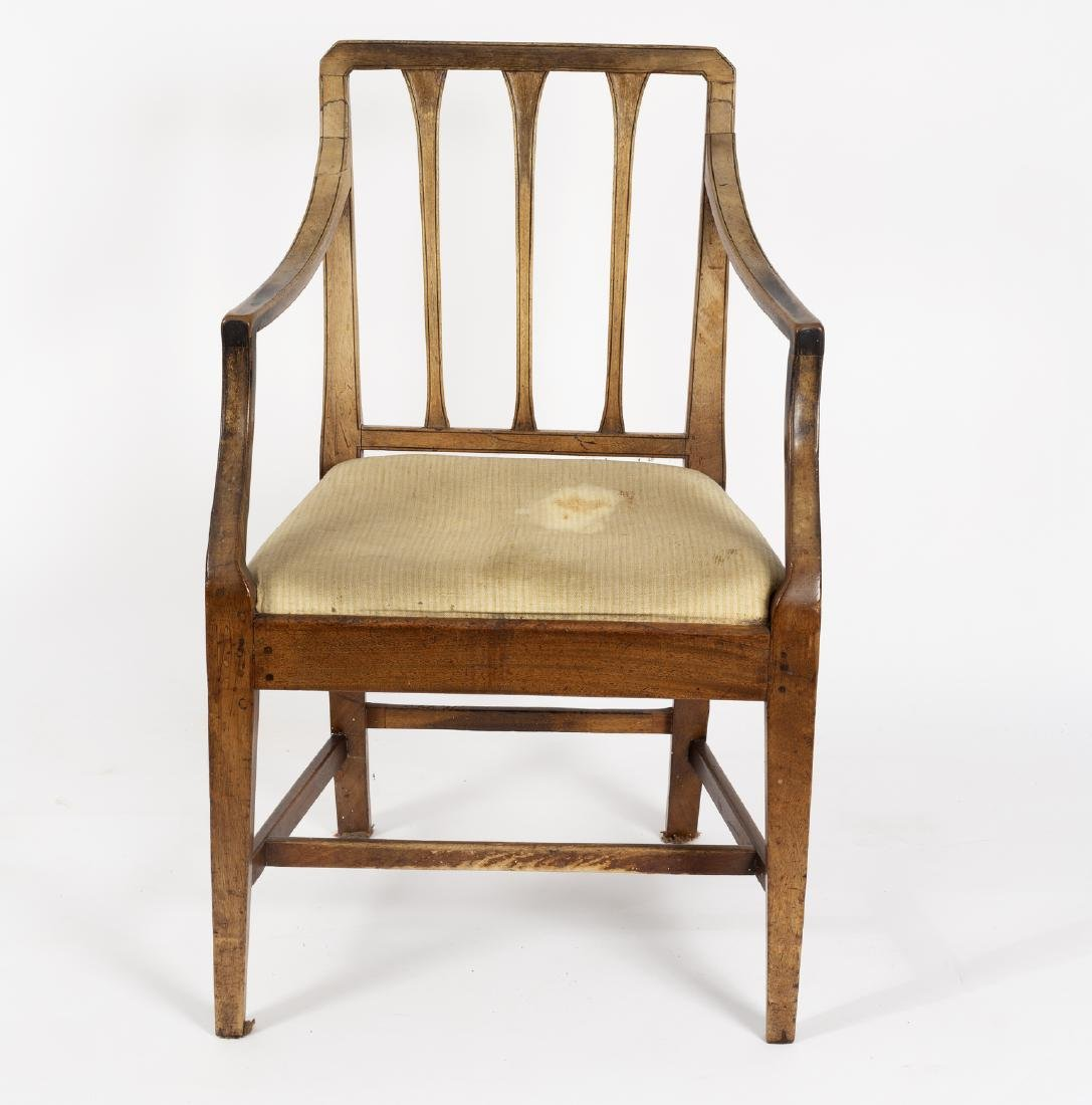 A George III mahogany elbow chair with slatted back