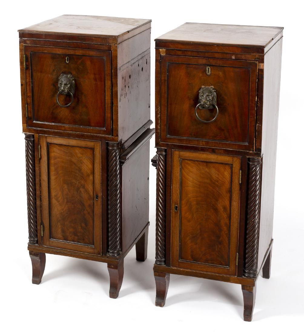 A pair of Regency mahogany sideboard pedestals, 103cm