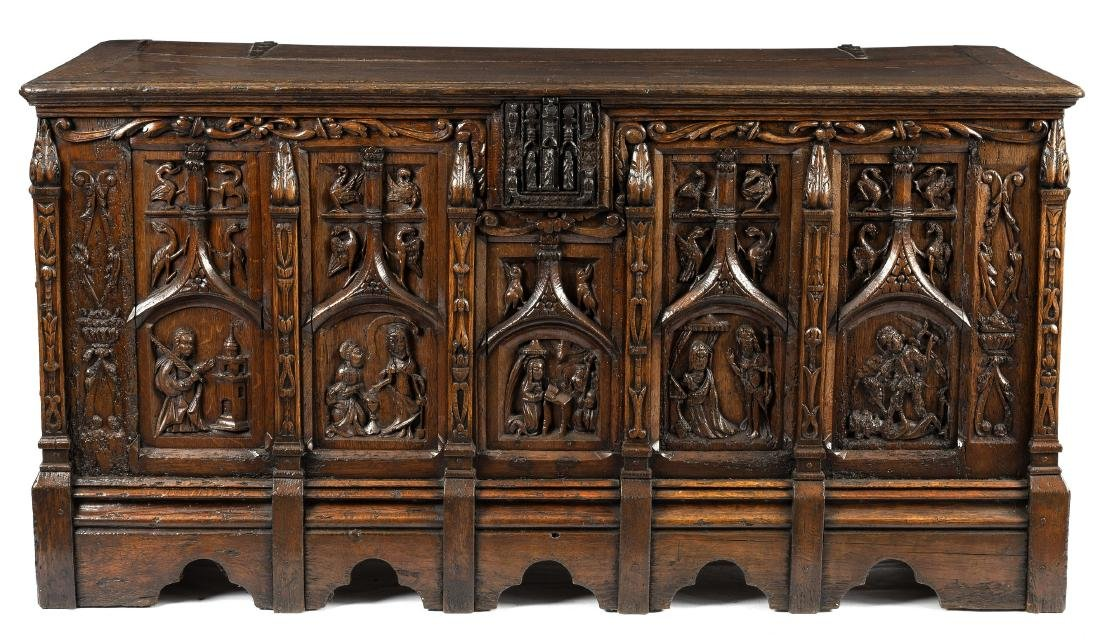 A 16th Century North German oak coffer, restorations,