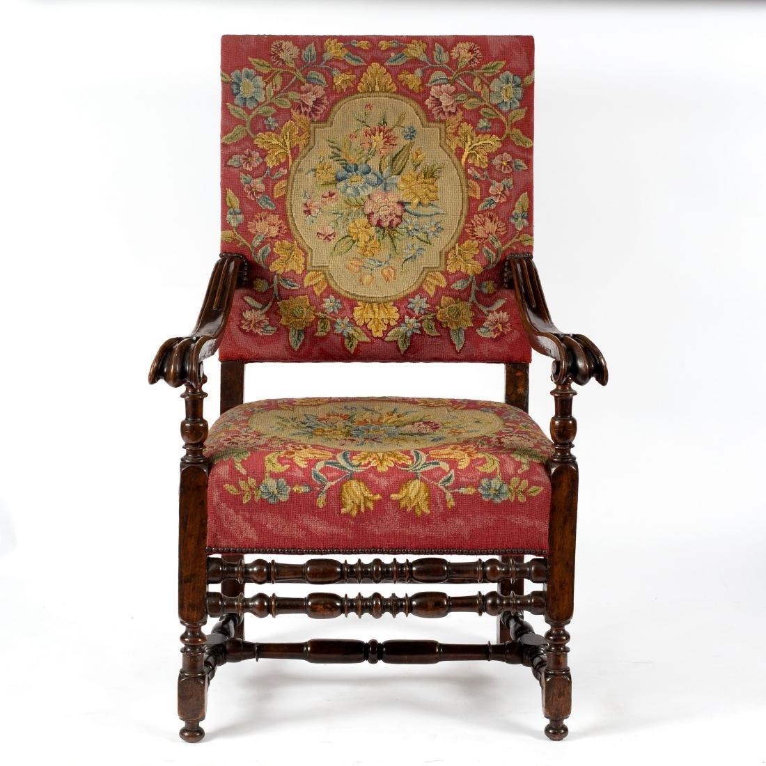 A Franco-Flemish high back open armchair, circa 1700,