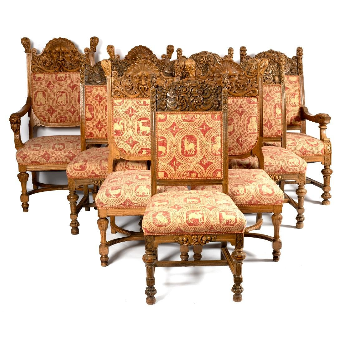 A composite set of ten chairs of 18th Century style