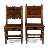 An oak back stool, the back inscribed 'Dorothy Garrard'