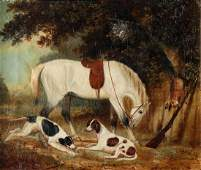 19th Century English School/Horse and Pointers in a