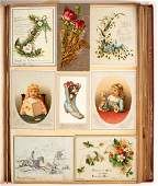 An album of Victorian coloured greetings cards,