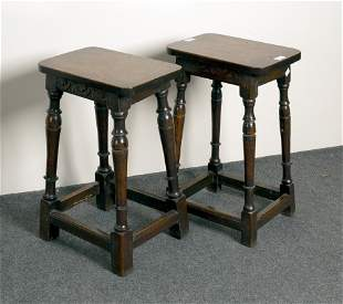 An oak stool on turned legs, 97cm high, and another sim