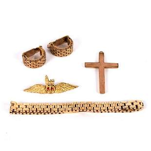 A 9ct gold brick link bracelet, 18.5cm long, a pair of