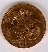 A Queen Victoria gold sovereign 1895