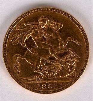 A Queen Victoria gold sovereign, 1895