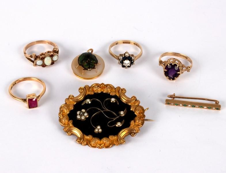 An early Victorian mourning brooch the floral motif set