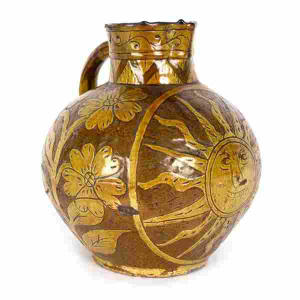 A dated Barnstaple slipware harvest jug, inscribed 'The