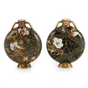 A pair of unusual Japanese Satsuma moon flasks, painted
