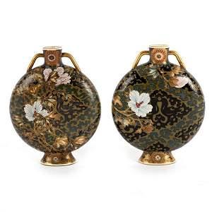 A pair of unusual Japanese Satsuma moon flasks, painted