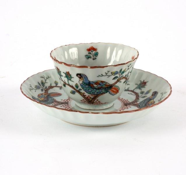 A fine Chinese tea bowl and saucer, circa 1720, Dutch