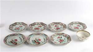 A collection of five famille rose octagonal plates,