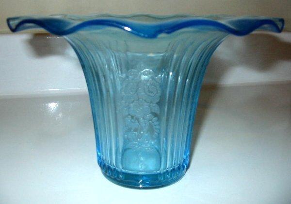 1: Mayfair Open Rose Blue Vase