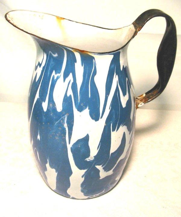 17: Enamelware Blue & White Swirl Pitcher