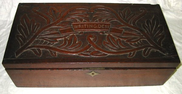 21: Hand Carved Top Writing Desk