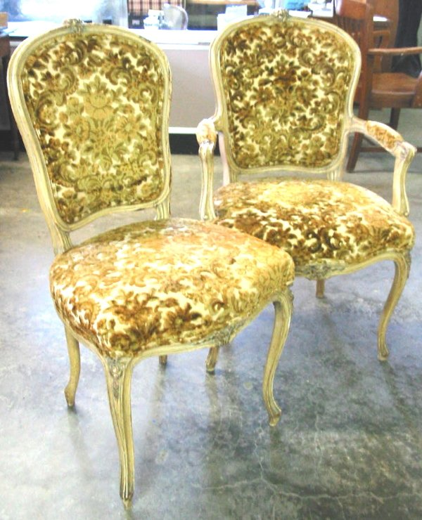 22: French Style Chairs Louis XV pair