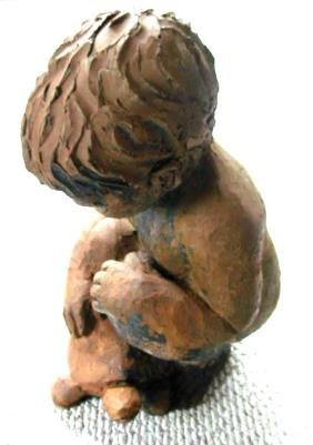 Sculpture Boy & Turtle By Mary Medda