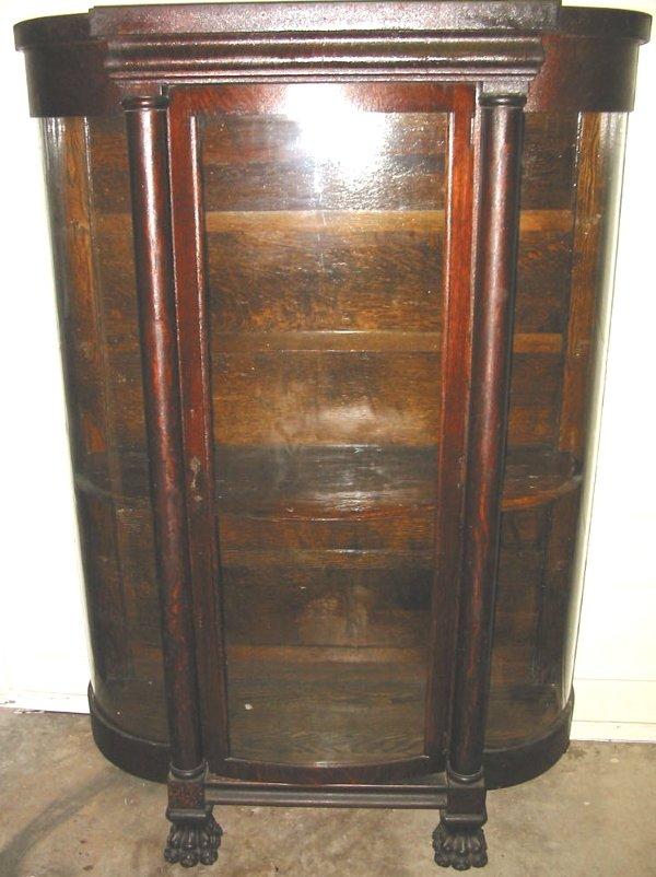 48: Oak China Cabinet Paw Feet