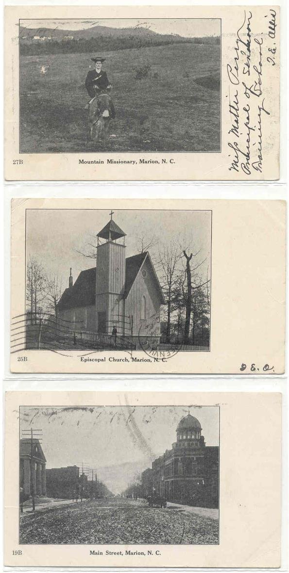 141: NC Marion  3 postcards early 1900's views