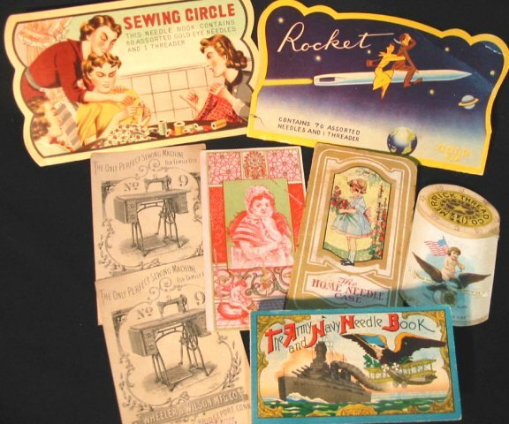 3: small lot of Sewing trade cards & needle cases