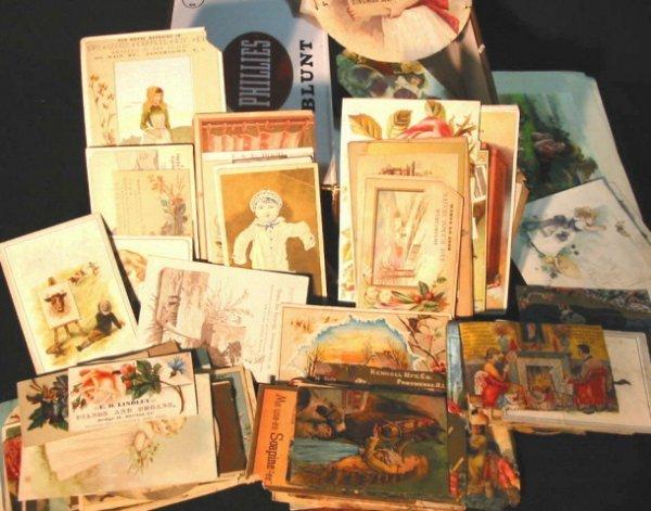 10: Cigar box full Victorian trade cards 100+