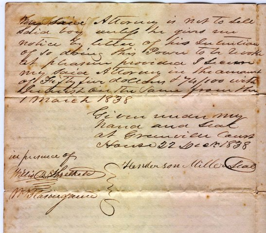 376: 1838 Slave Document Greenville SC Slavery