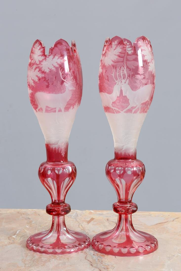 A PAIR OF LARGE BOHEMIAN CRANBERRY CUT TO CLEAR GLASS