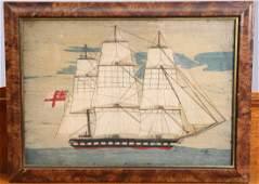 A VICTORIAN SAILOR'S WOOLWORK PICTURE, depicting a