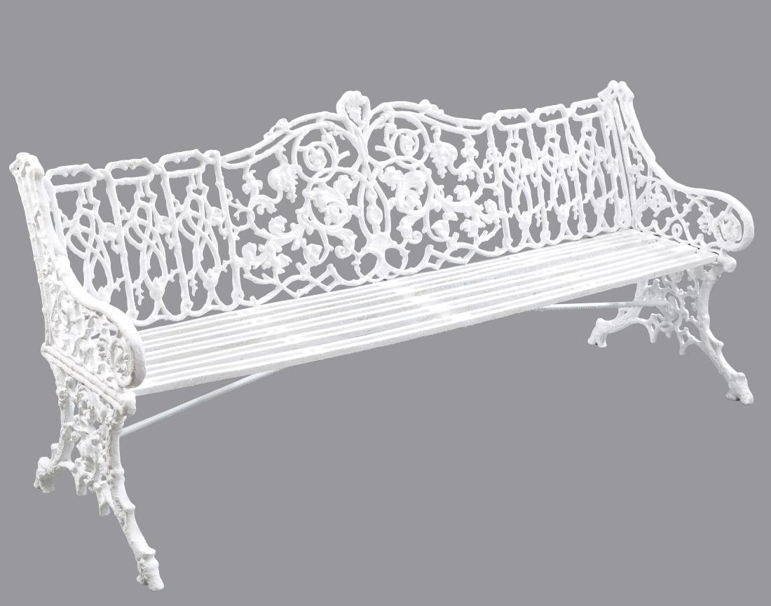 A LARGE VICTORIAN CAST IRON GARDEN BENCH, unmarked but