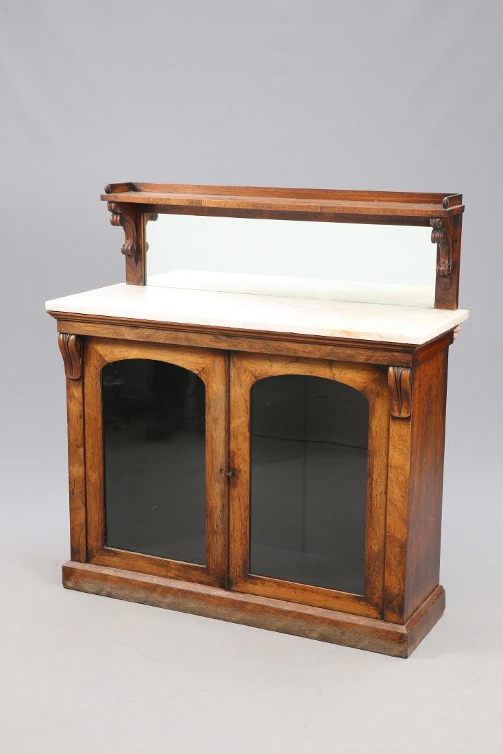A VICTORIAN MARBLE TOPPED ROSEWOOD CHIFFONIER, with