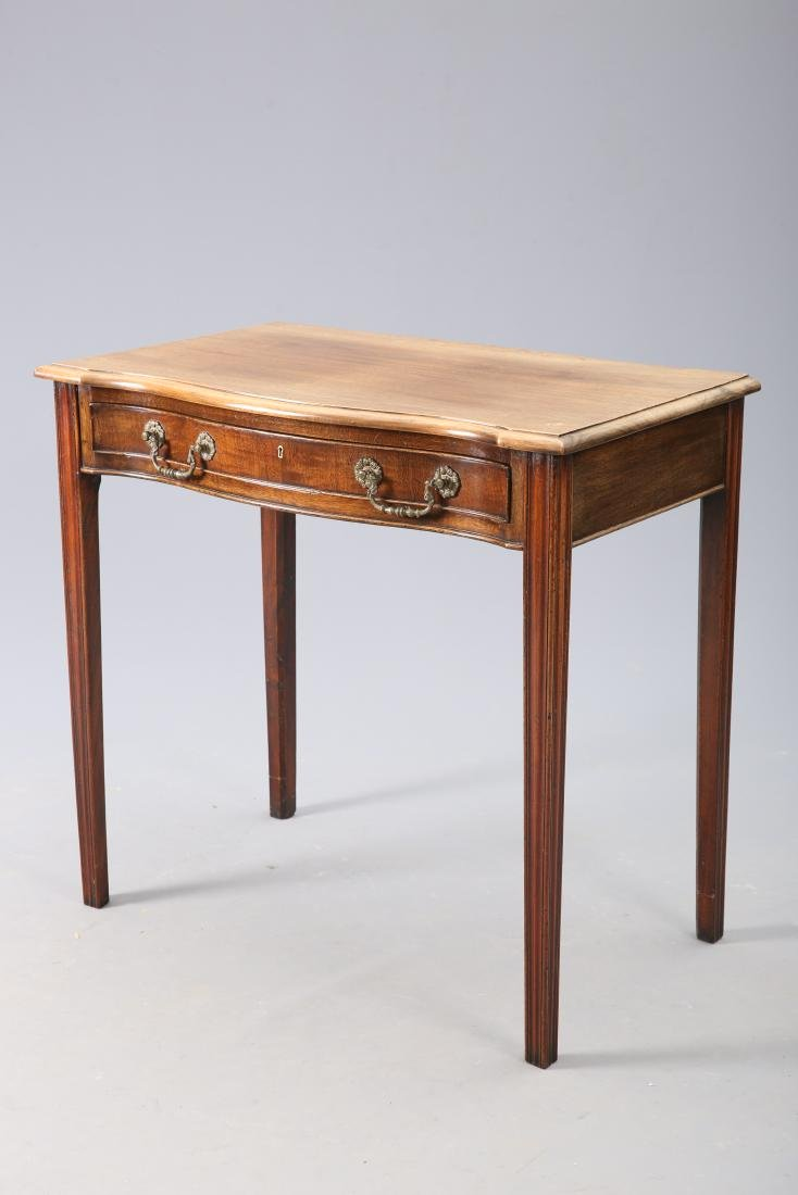 A GEORGE III STYLE MAHOGANY SIDE TABLE, with moulded