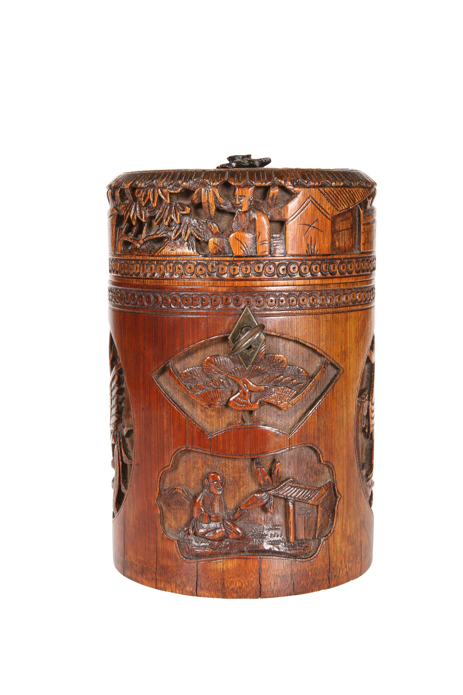 A CHINESE BAMBOO JAR AND COVER, 19TH CENTURY,