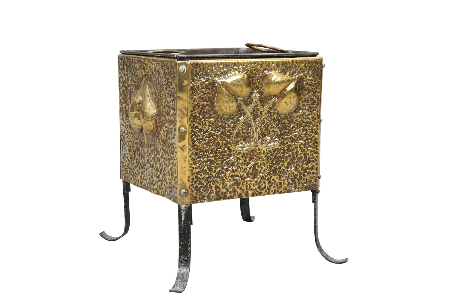 AN ARTS AND CRAFTS BRASS COAL BOX, square with riveted