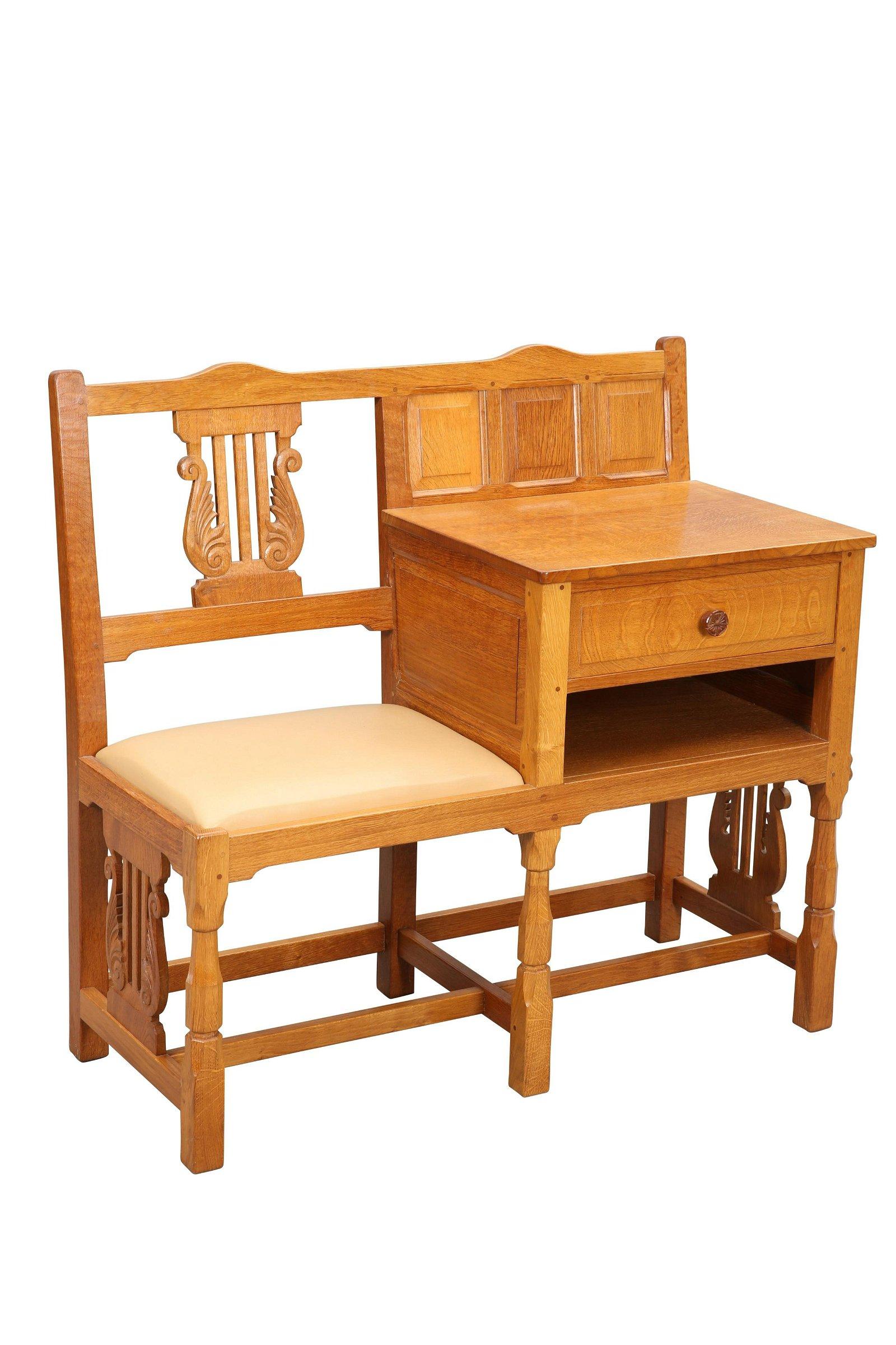 COLIN ALMACK  A BEAVERMAN OAK TELEPHONE TABLE, to one