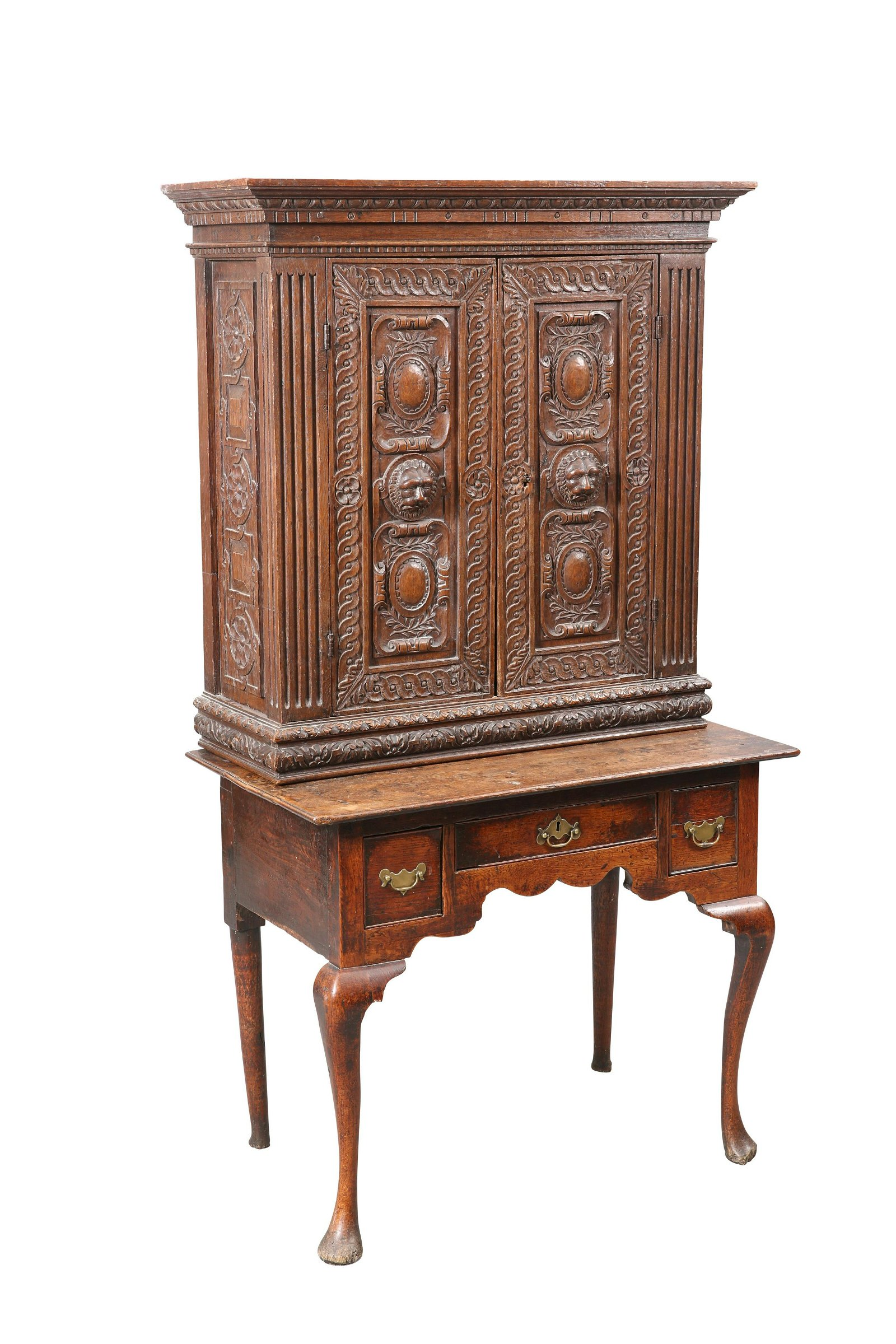 AN 18TH CENTURY OAK LOWBOY, the moulded rectangular top