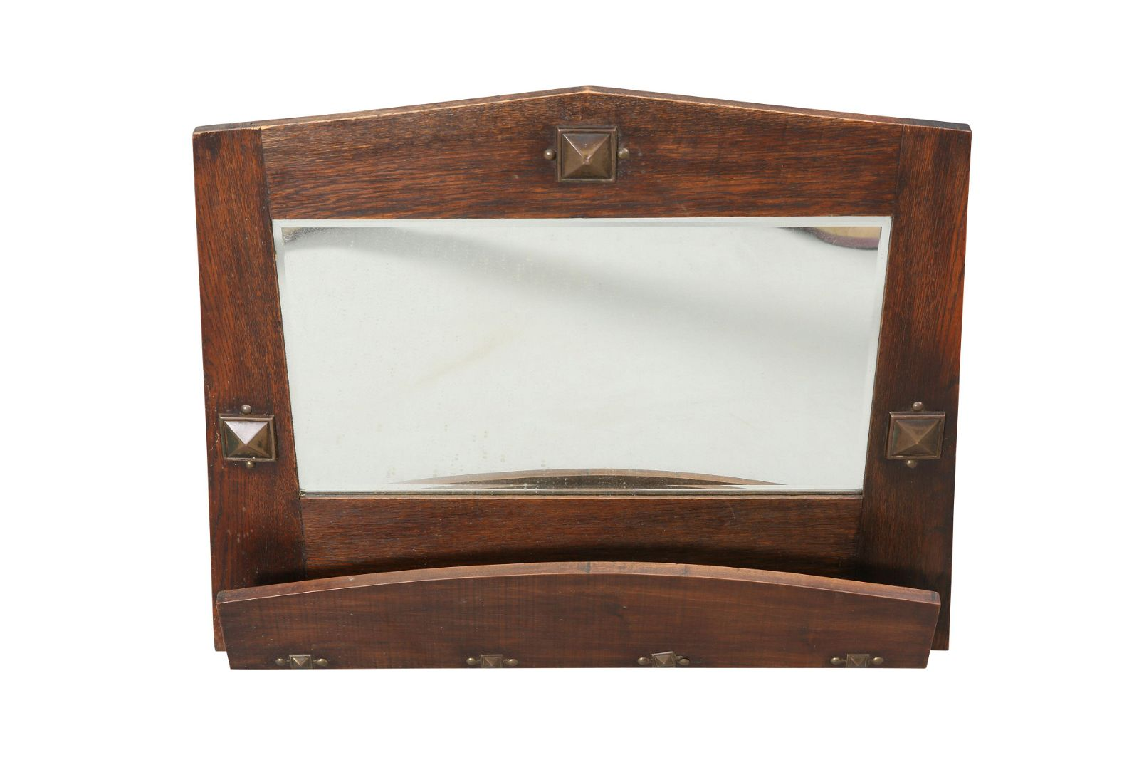 AN ARTS AND CRAFTS METAL-MOUNTED OAK HALL MIRROR,