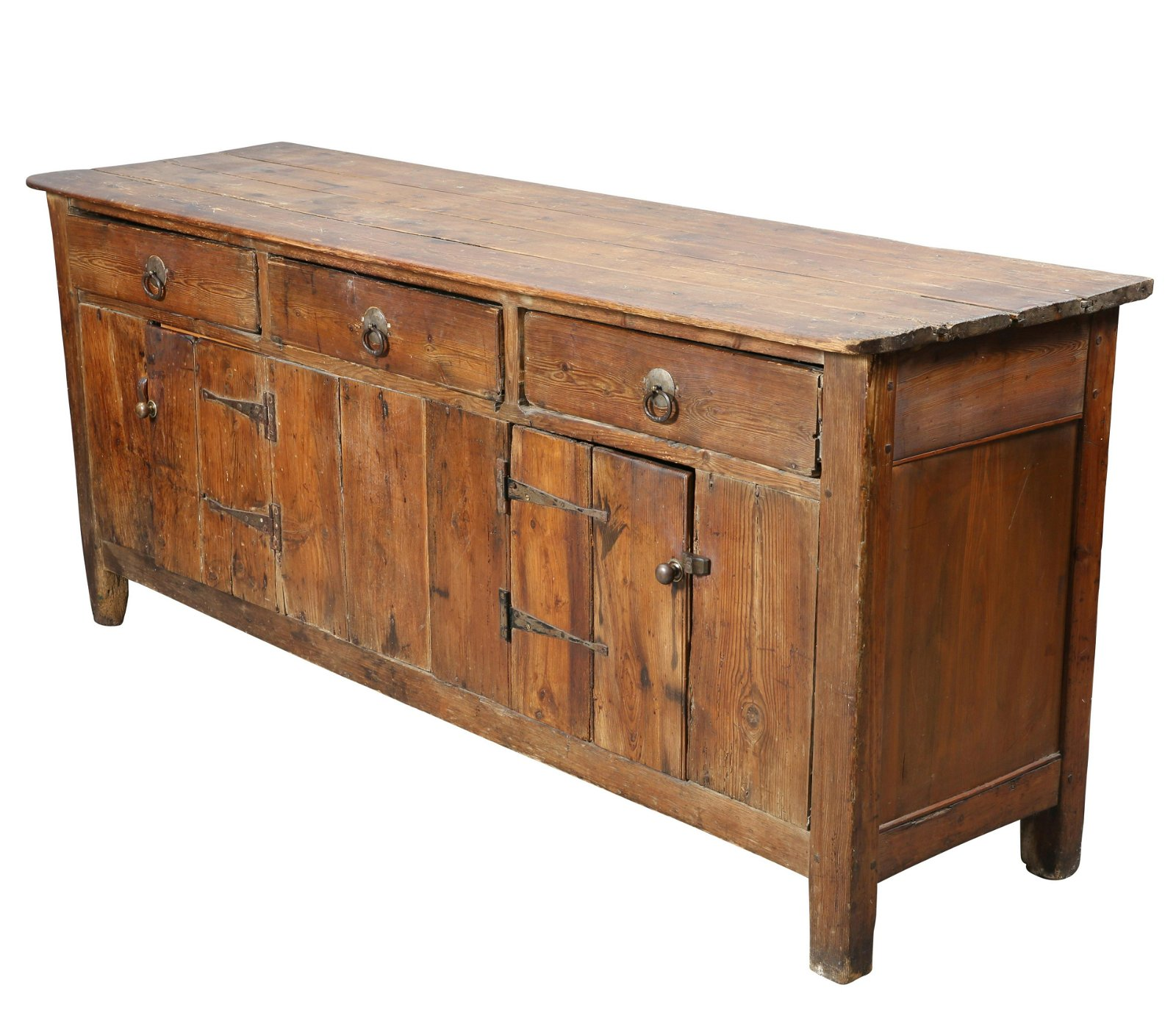 A LARGE PINE DRESSER BASE, 18TH/19TH CENTURY, the