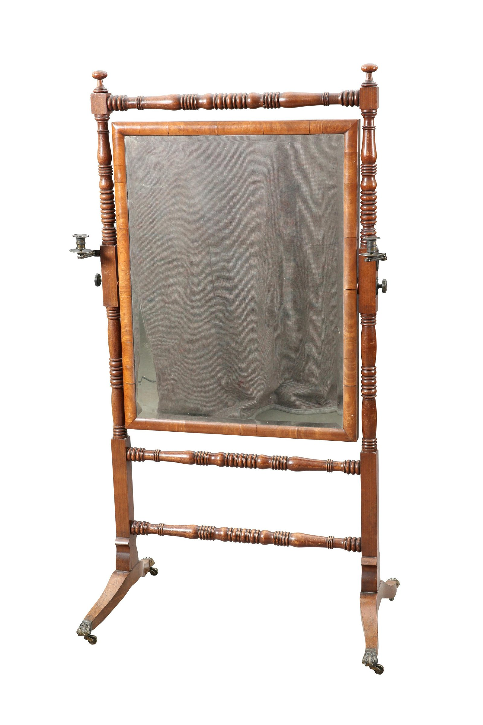 A LATE REGENCY MAHOGANY CHEVAL MIRROR, the bevelled