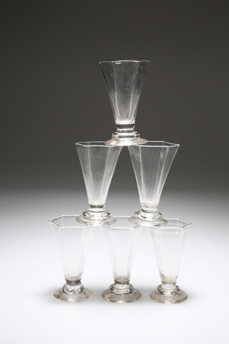 A RARE SET OF SIX JELLY GLASSES, MID-18th CENTURY, each