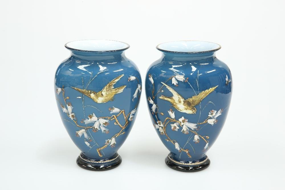 A PAIR OF VICTORIAN ENAMEL PAINTED BLUE CASED GLASS